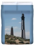 Old And New Cape Henry Lights Together Duvet Cover