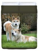 Old And Young Akita Inu Duvet Cover