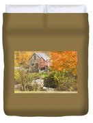 Old Barn And Dam In Autunm Vienna Maine Duvet Cover
