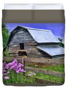 Old Barn And Flowers Duvet Cover