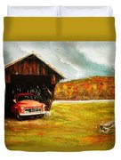 Old Barn And Red Truck Duvet Cover