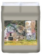 Old Barn And Silos Digital Paint Duvet Cover
