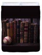 Old Baseball And Books Duvet Cover