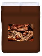 Old Baseball Gloves Duvet Cover