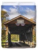 Old Bedford Village Covered Bridge Entrance Duvet Cover
