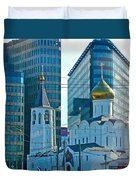 Old Believer-new Believer Church Amid Skyscrapers In Moscow-russia Duvet Cover