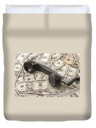 Old Black Phone Receiver On Money Background Duvet Cover
