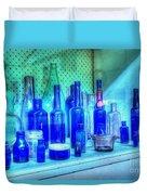 Old Blue Bottles Duvet Cover