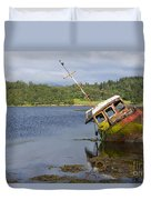 Old Boat In The Loch  Duvet Cover