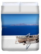 Old Boat On The Roof Of The Building On Santorini Greece Duvet Cover