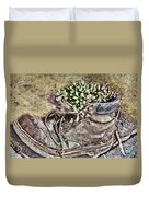 Old Boot Flowerpot Duvet Cover
