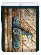 Old Bronze Church Door Handle Duvet Cover