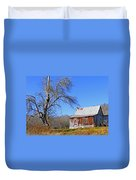 Old Cabin And Tree Duvet Cover