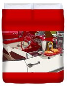 Old Car At Drive In Restaurant Duvet Cover