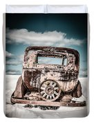 Old Car In The Snow Duvet Cover