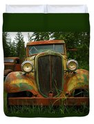 Old Cars Left To Decorate The Weeds Duvet Cover