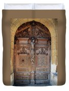 Old Carved Church Door Duvet Cover