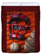 Old Catcher Mask Duvet Cover
