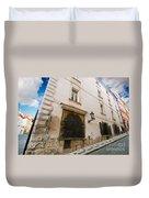 Old Charming Street In Prague Duvet Cover