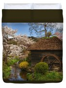 Old Cherry Blossom Water Mill Duvet Cover