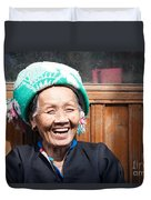 Old Chinese Zhuang Minority  Lady Smiling China Duvet Cover