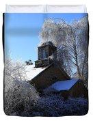 Old Church In Ice Duvet Cover