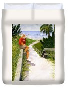 Old Codger On Beach Duvet Cover