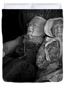 Old Couple Mannequins In Shop Window Display Duvet Cover