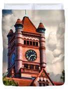 Old Dupage County Courthouse Clouds Duvet Cover