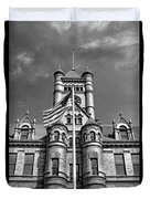 Old Dupage County Courthouse Flag Black And White Duvet Cover