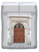 Old Entrance Door With Lionheads Duvet Cover