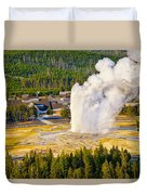 Old Faithful From Observation Point Duvet Cover