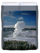 3m09133-01-old Faithful Geyser In Winter - V Duvet Cover