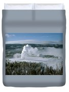 3m09132-01-old Faithful Geyser In Winter Duvet Cover