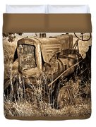 Old Farm Tractor In Sepia 1 Duvet Cover