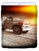 Old Farm Truck With Explosion At Night Duvet Cover