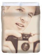 Old Fashion Male Freelance Photographer Duvet Cover