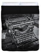 Old Fashioned Underwood Typewriter Bw Duvet Cover