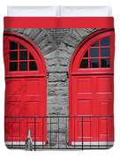 Old Fire Hall Doors Duvet Cover