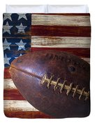 Old Football On American Flag Duvet Cover