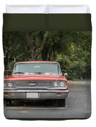Old Ford Galaxy In The Rain Duvet Cover