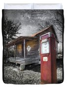 Old Gas Pump Duvet Cover by Debra and Dave Vanderlaan