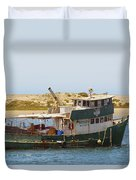 Old Green Scow Morro Bay Harbor Duvet Cover