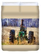 Old Green Tractor On The Farm Duvet Cover