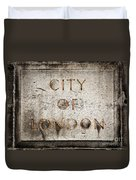 Old Grunge Stone Board With City Of London Text Duvet Cover