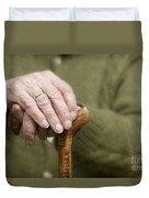 Old Hands Of A Senior On Walking Stick Duvet Cover