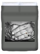 Old Hands With Wedding Band Duvet Cover