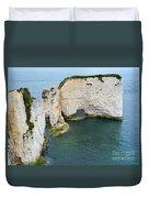 Old Harry Rocks On The Jurassic Coast In Dorset Duvet Cover