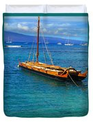 Old Hawaiian Sailboat Duvet Cover