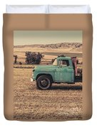 Old Hay Truck In The Field Duvet Cover